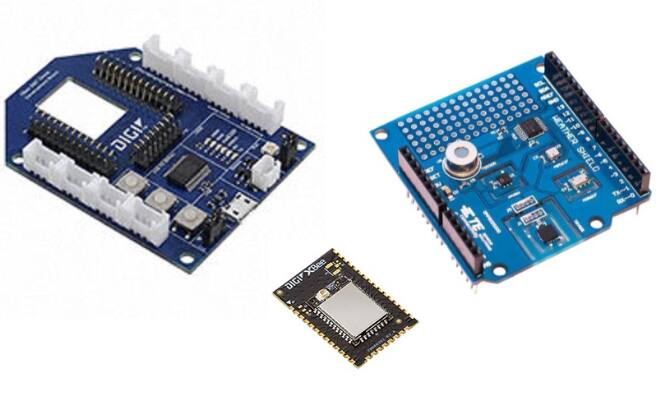 Image of Digi International Grove board, XBee3 module and TE Connectivity Weather Shield